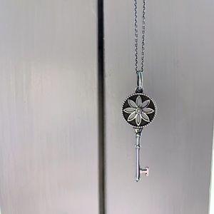 Tiffany & Co Daisy Key Pendant and Silver Chain